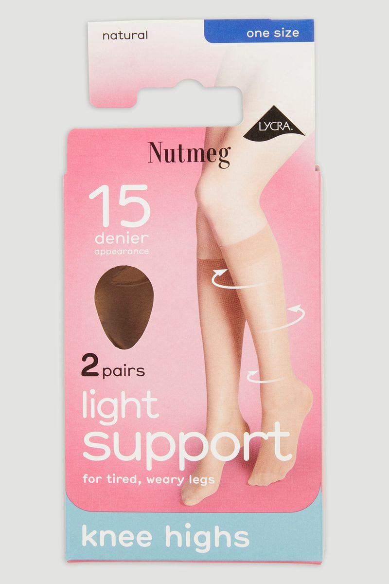 Natural 2 Pack 15 Denier Knee Highs