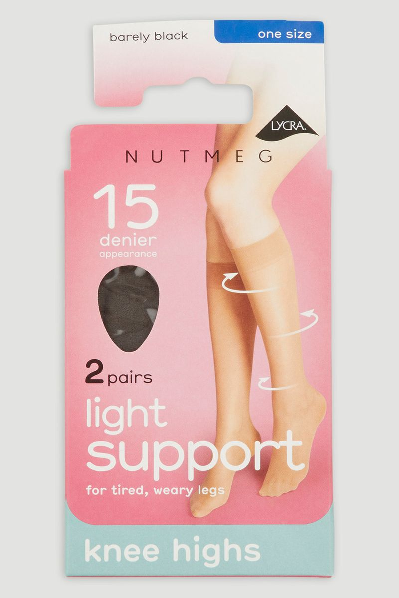 Barely Black 2 Pack 15 Denier Knee Highs