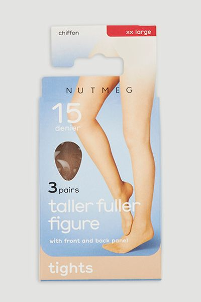 Natural 3 Pack 15 Denier Chiffon Tights