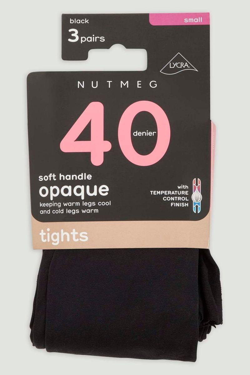 3 Pack 40 Denier Black Opaque Tights