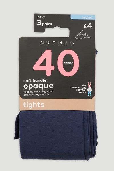 3 Pack 40 Denier Navy Opaque Tights