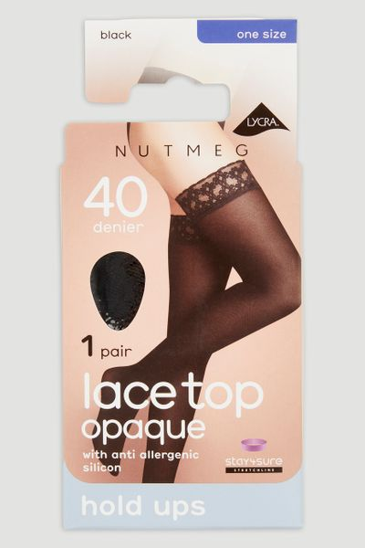 40 Denier Black Lace Hold Ups