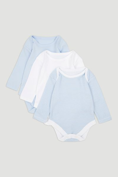 3 Pack Blue Long Sleeve Bodysuits