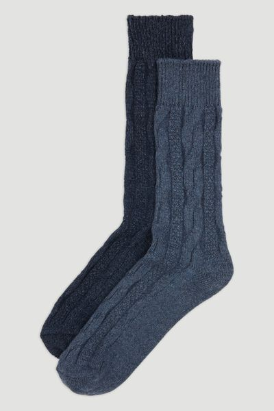 2 Pack Blue Knitted Wool Socks