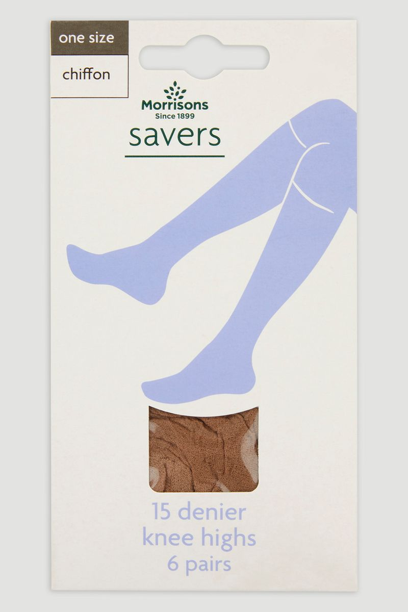 Natural 6 Pack 15 Denier Knee Highs