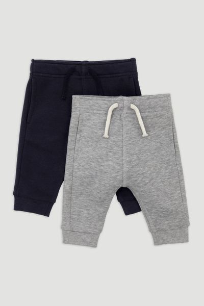 2 Pack Grey Marl & Navy Joggers