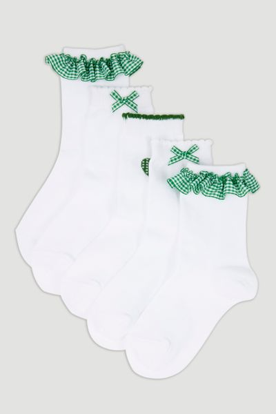 5 Pack Green Gingham Sock