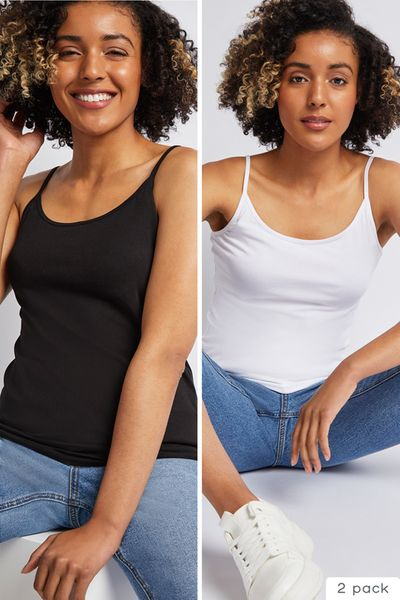 2 Pack Black & White Cami