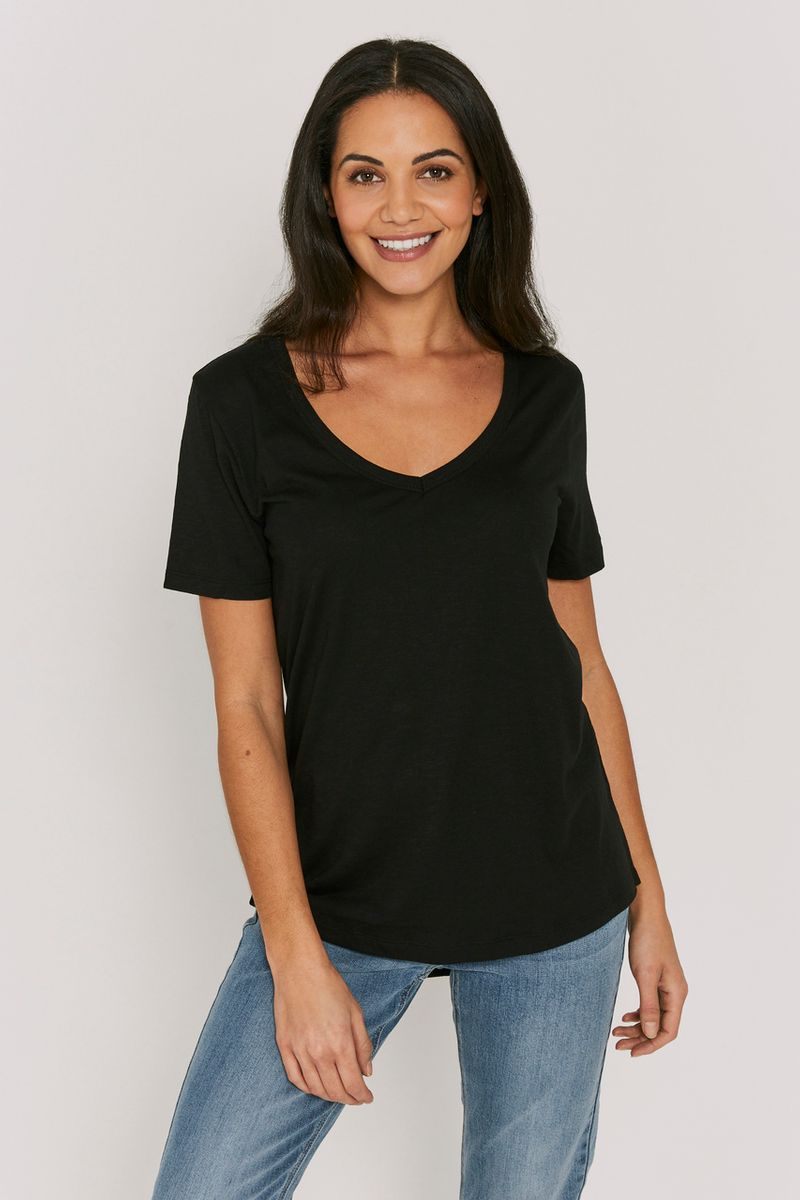 Black V-Neck Loose T-shirt