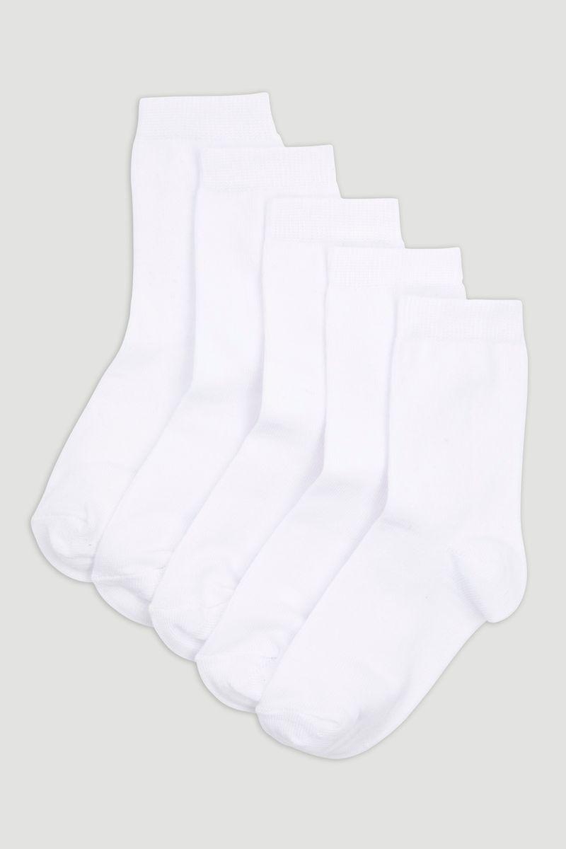 5 Pack White Socks