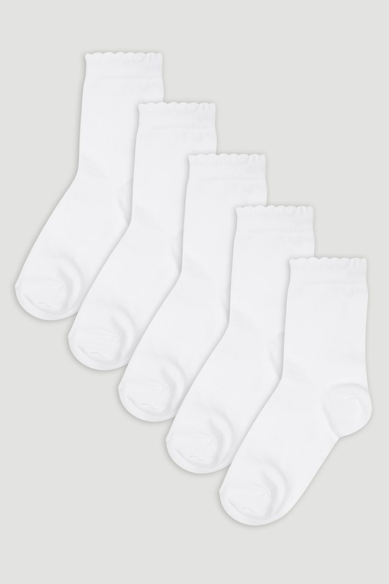 5 Pack White Picot Socks