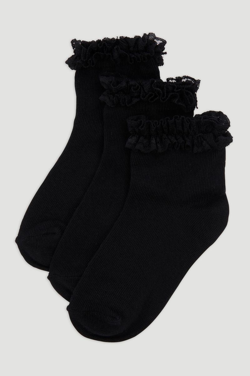3 Pack Black Frill Socks