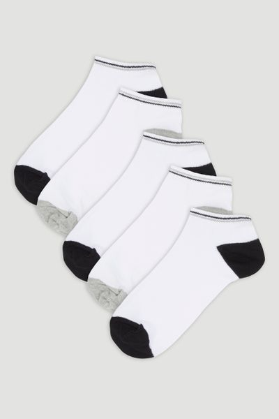 5 Pack White Trainer Liner Socks