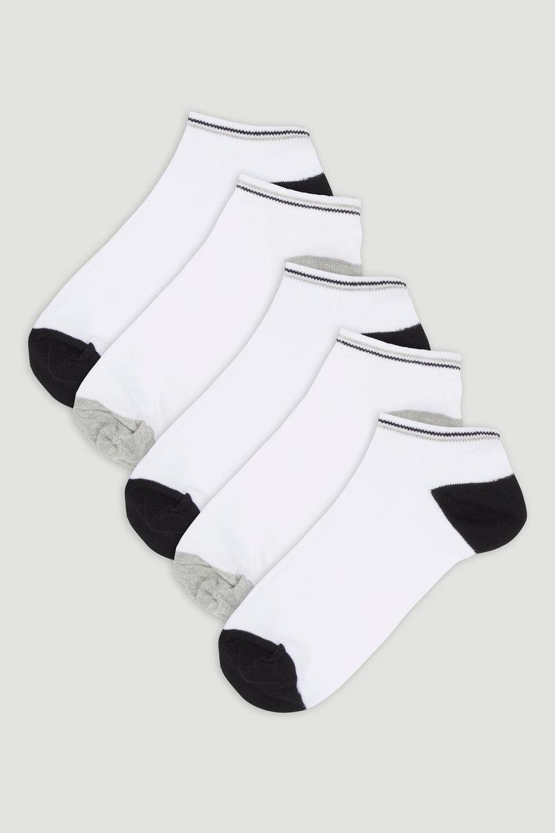 5 Pack White Trainer Liner Socks