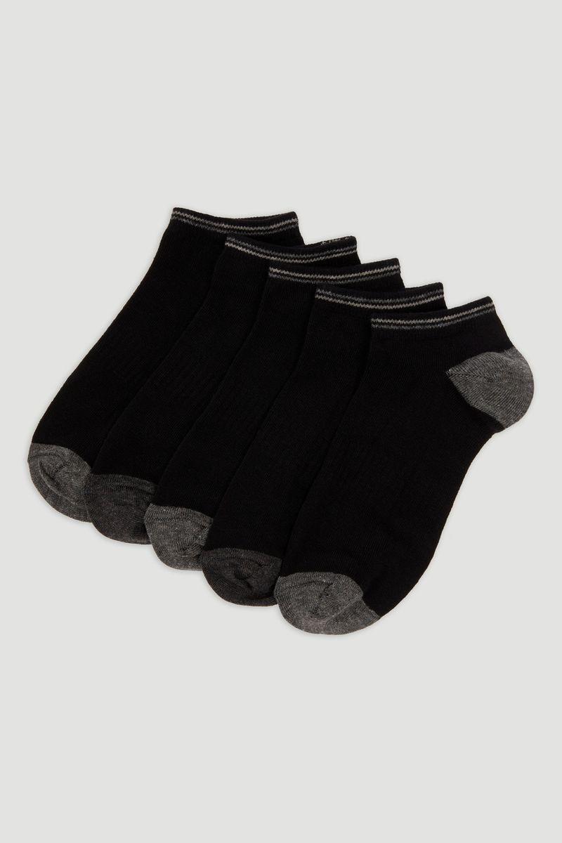 5 Pack Black Trainer Liner Socks