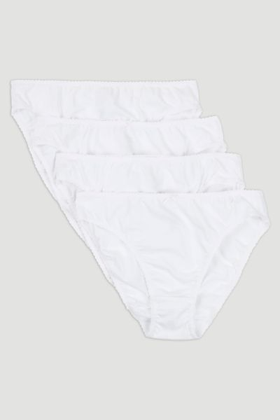 4 Pack High Leg White Briefs