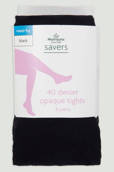 6 Pack 40 Denier Black Tights