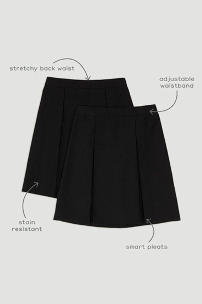 Black 2 Pack Woven Pleated Skirt