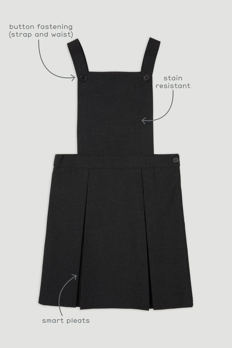 Charcoal Grey Woven Pinafore