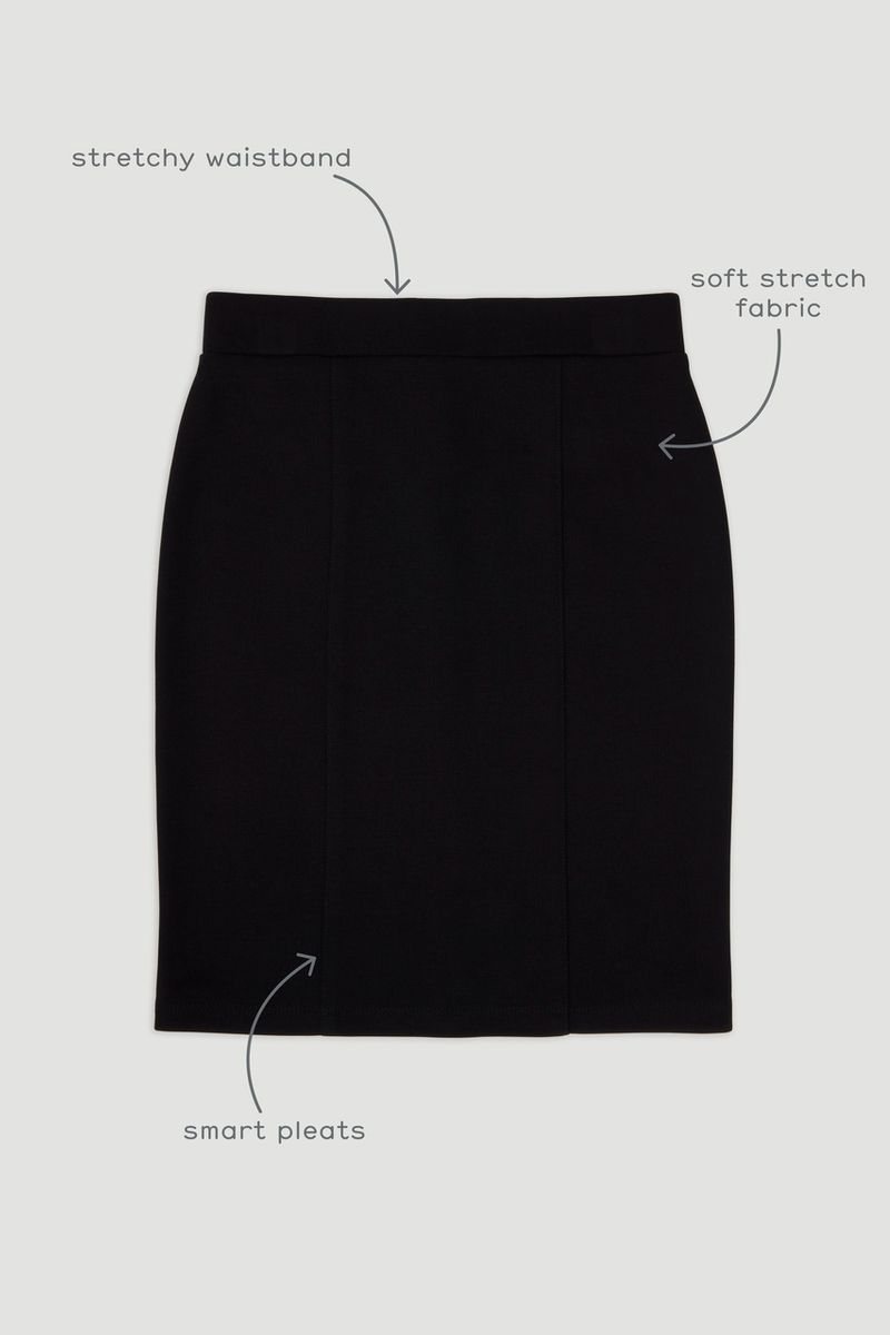 Black Ponte Straight Skirt