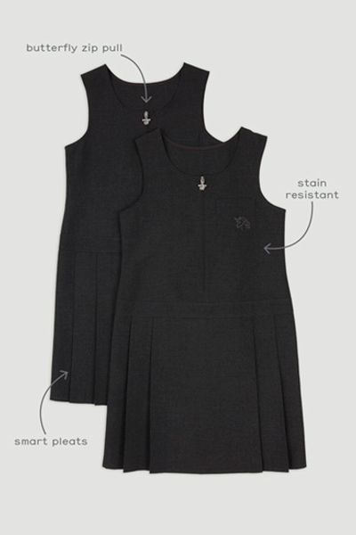 2 Pack Charcoal Zip Front Pinafore Dress