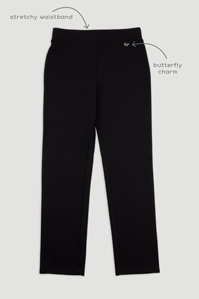 Girls Black Ponte Trouser