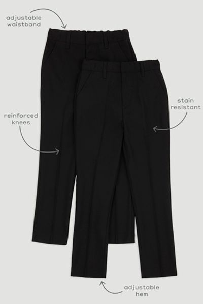 2 Pack Black Skinny Fit Trousers