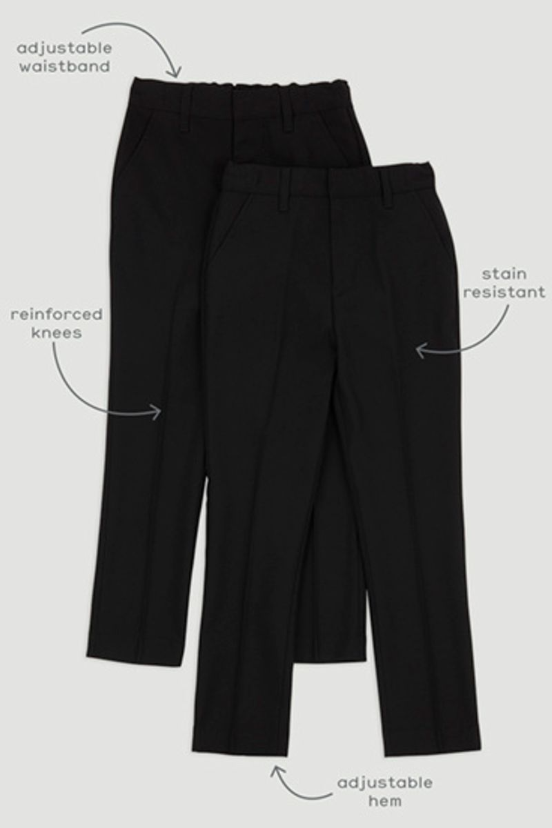 2 Pack Black Skinny Fit Trousers