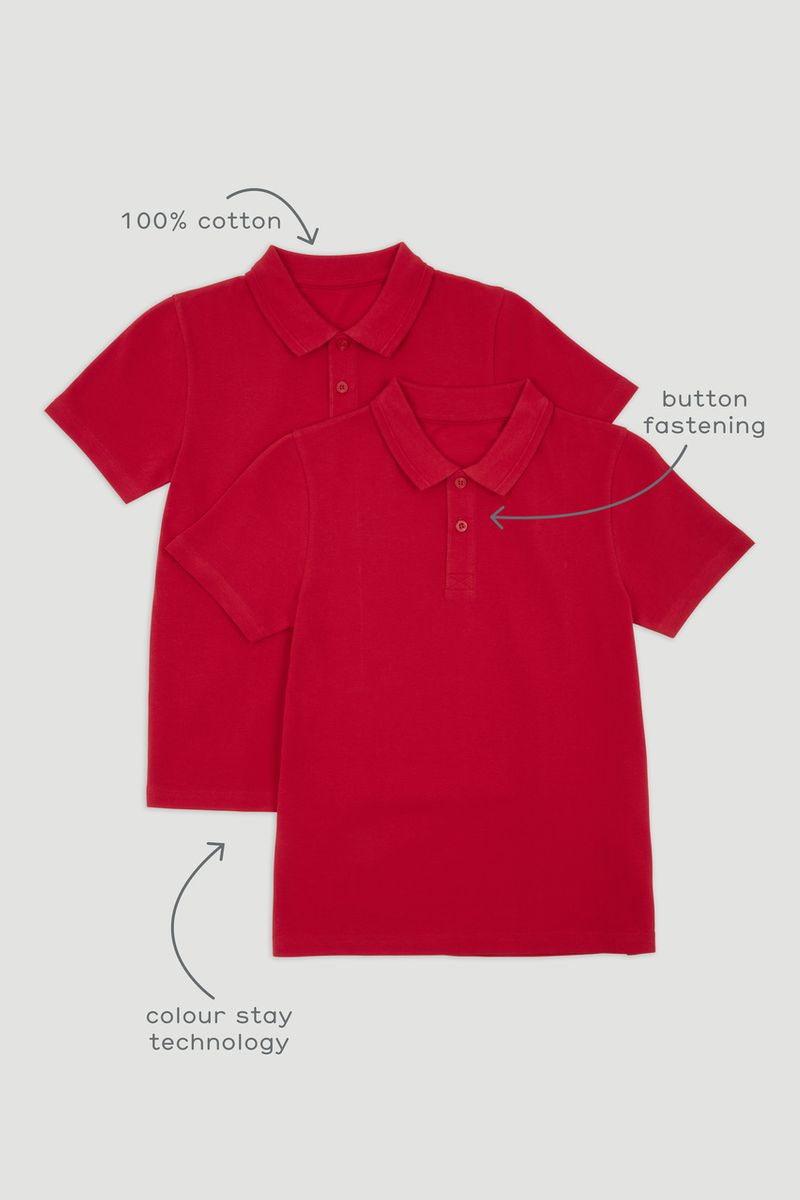 2 Pack Red Polo Shirts