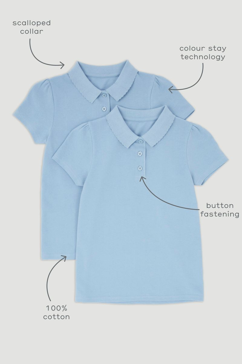 2 Pack Pale Blue Polo T-Shirts