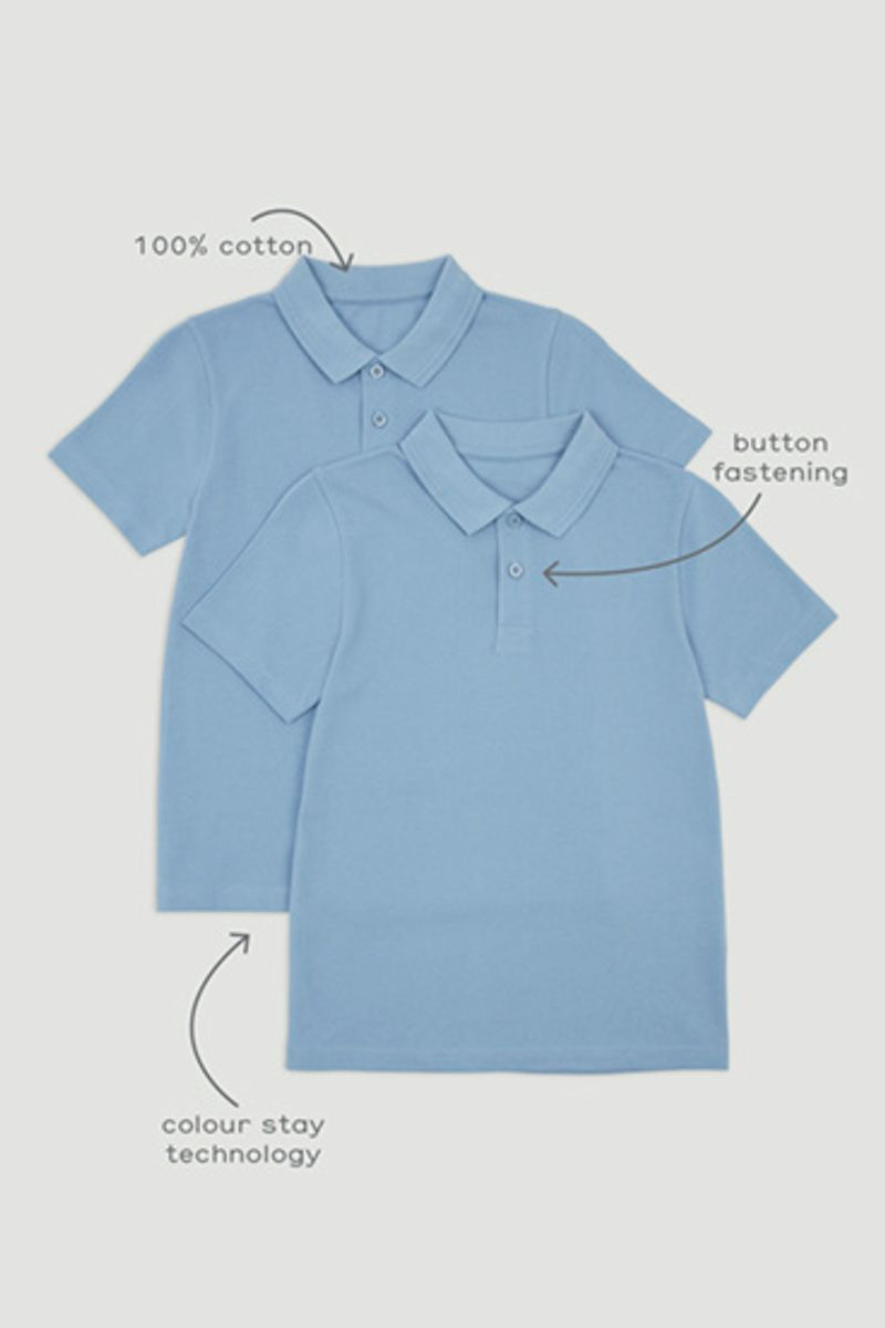 2 Pack Pale Blue Polo Shirts