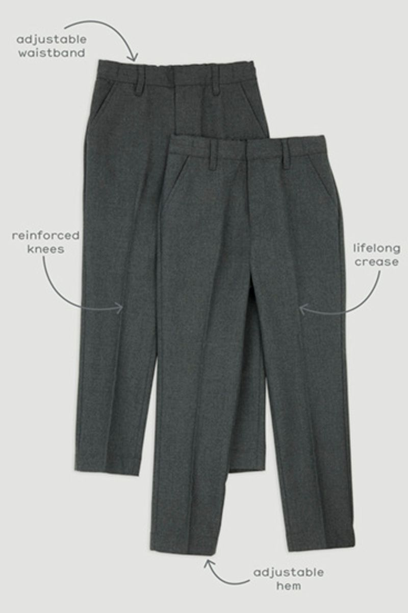 2 Pack Charcoal Regular Fit Trousers