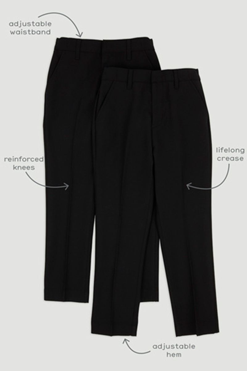 2 Pack Black Regular Fit Trousers