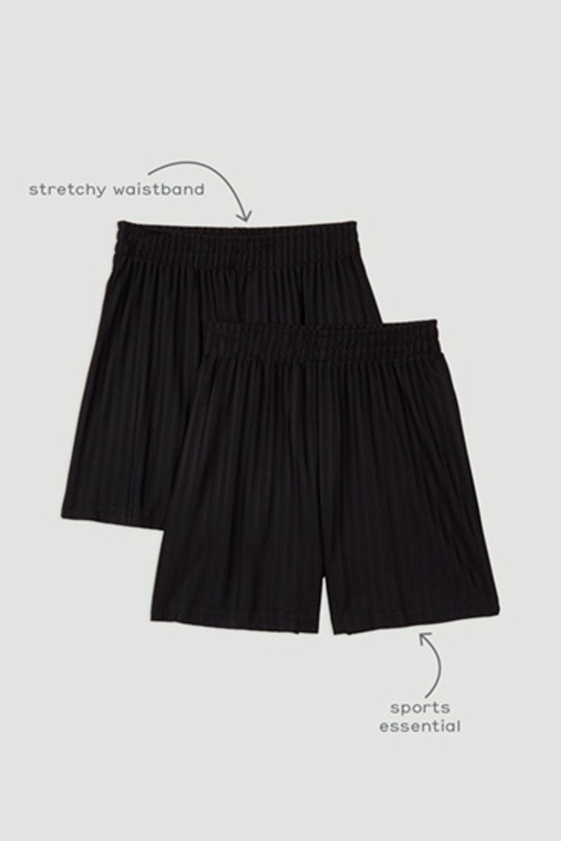 2 Pack Black Football Shorts