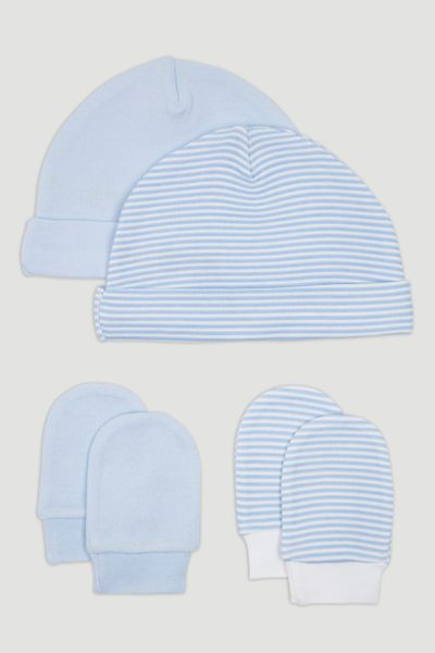 2 Pack Stripe Hats & Scratch Mitts