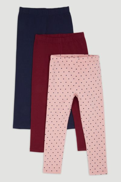 3 Pack Spot Navy & Berry Leggings