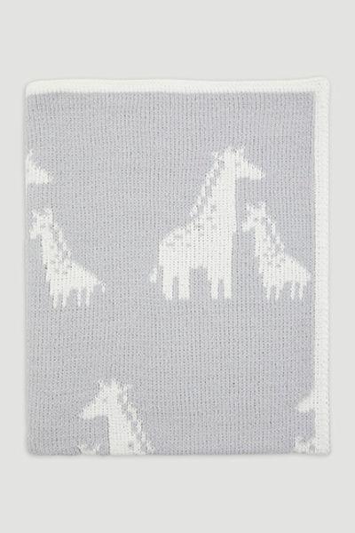 Grey Giraffe Chenille Shawl
