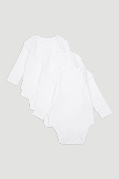 3 Pack Long Sleeve White Bodysuits