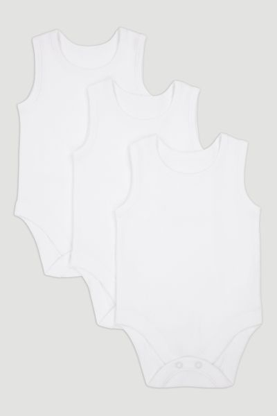 3 Pack White Vest Bodysuits