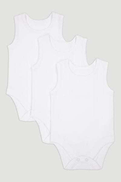 3 Pack White Vest Bodysuits