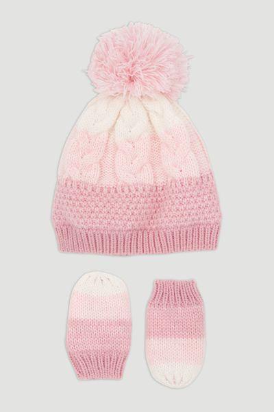 Pink Beanie Hat & Mittens Set