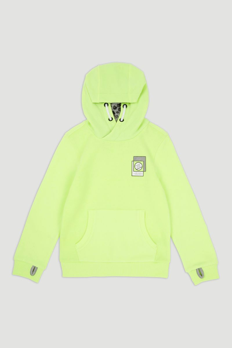 Fluorescent Lime Slogan Hoodie