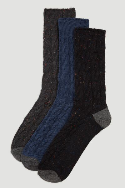 3 Pack Cable Knit Socks