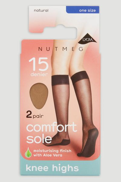 Natural 2 Pack 15 Denier Knee Highs
