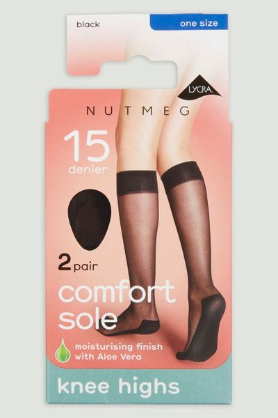 2 Pack 15 Denier Black Knee Highs