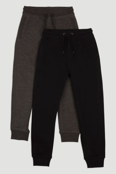 2 Pack Black & Charcoal Joggers