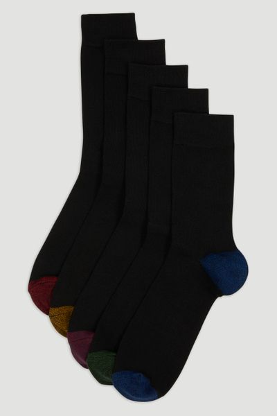 5 Pack Black Heel & Toe Socks