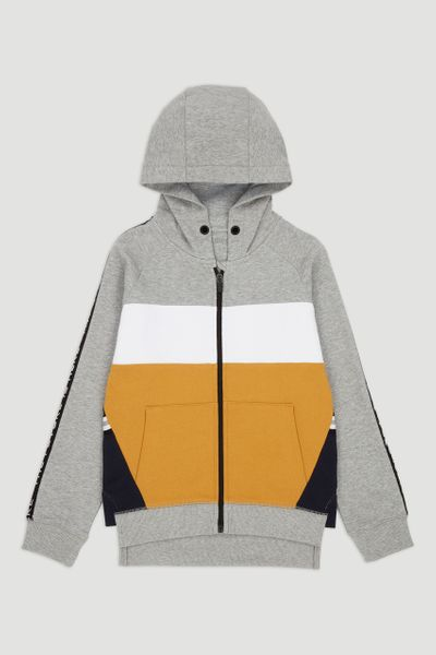 Grey & Yellow Colour Block Hoodie