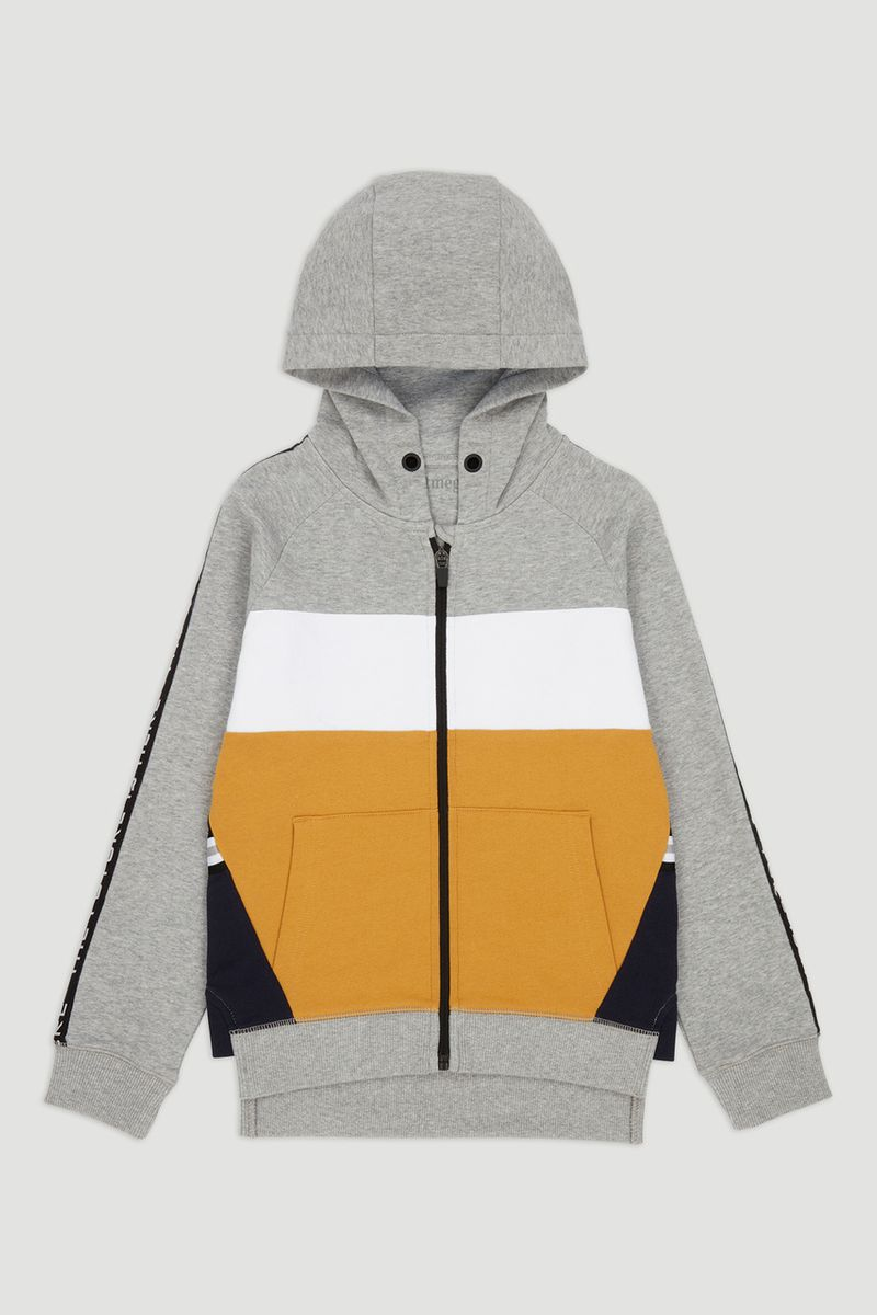 Grey & Yellow Colour Block Hoodie