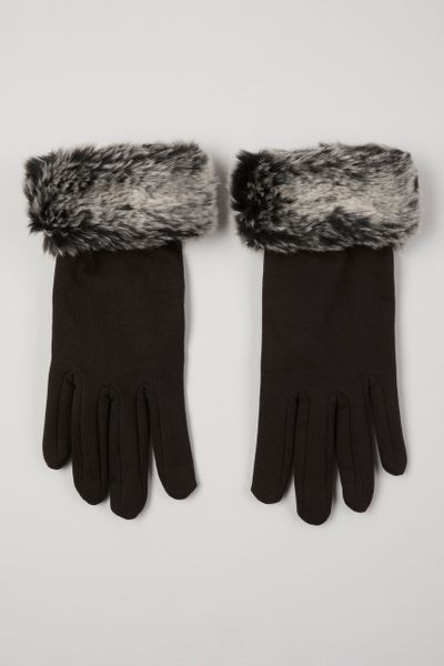 Black Faux Fur Cuffed Gloves